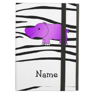 Personalized name hippo zebra stripes cover for iPad air