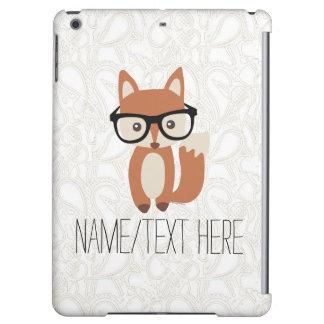 Personalized Name Hipster Baby Fox Glasses iPad Air Covers