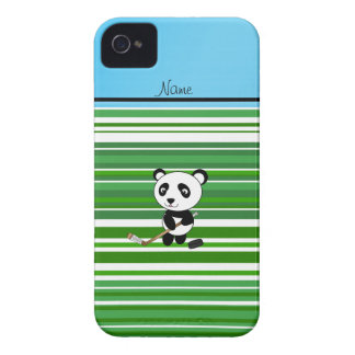 Personalized name hockey panda green stripes iPhone 4 cover