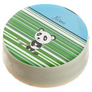 Personalized name hockey panda green stripes chocolate dipped oreo
