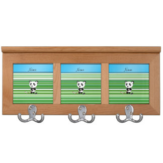 Personalized name hockey panda green stripes coat rack