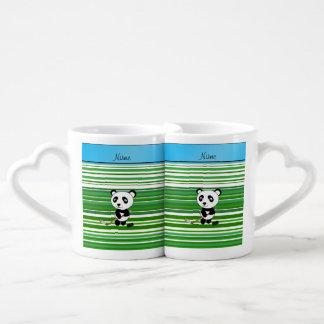 Personalized name hockey panda green stripes couples' coffee mug set