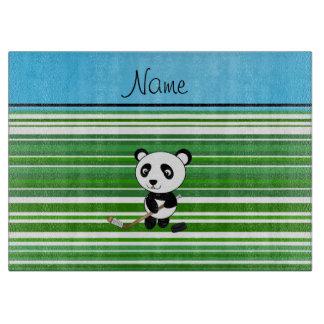 Personalized name hockey panda green stripes cutting board