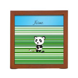 Personalized name hockey panda green stripes desk organizer