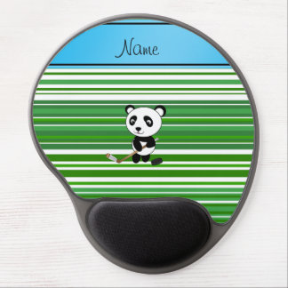 Personalized name hockey panda green stripes gel mouse pads