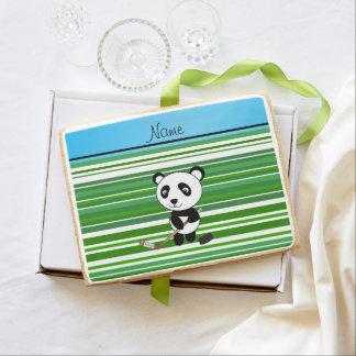 Personalized name hockey panda green stripes jumbo cookie