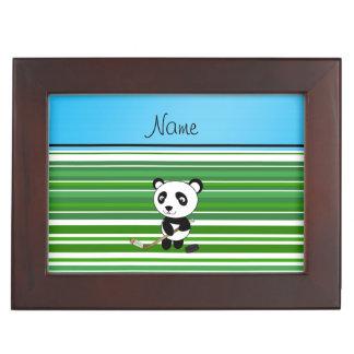 Personalized name hockey panda green stripes keepsake boxes