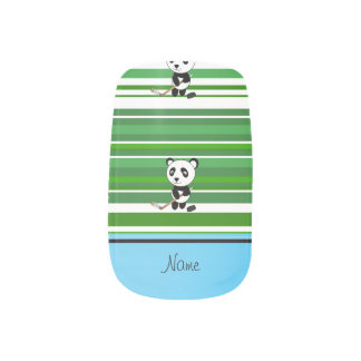 Personalized name hockey panda green stripes  Minx® nail art
