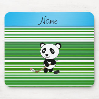 Personalized name hockey panda green stripes mouse pads
