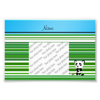 Personalized name hockey panda green stripes photograph