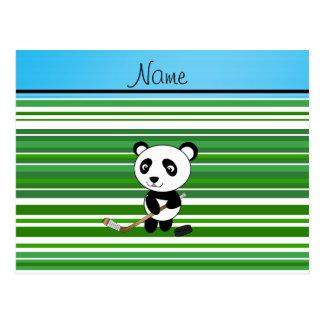 Personalized name hockey panda green stripes postcard