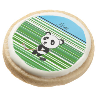 Personalized name hockey panda green stripes round premium shortbread cookie