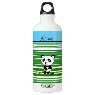 Personalized name hockey panda green stripes SIGG traveler 0.6L water bottle