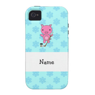 Personalized name hockey pig blue snowflakes iPhone 4 covers