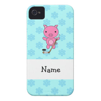 Personalized name hockey pig blue snowflakes iPhone 4 Case-Mate cases