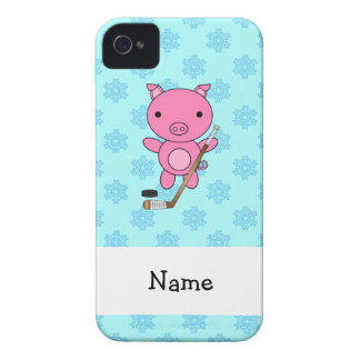 Personalized name hockey pig blue snowflakes Case-Mate iPhone 4 case