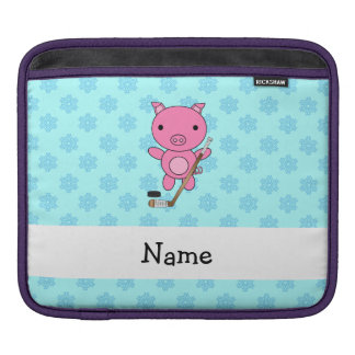 Personalized name hockey pig blue snowflakes sleeves for iPads