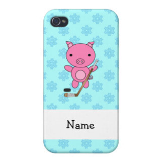 Personalized name hockey pig blue snowflakes iPhone 4 cases