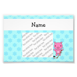 Personalized name hockey pig blue snowflakes photo art