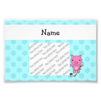 Personalized name hockey pig blue snowflakes photo art