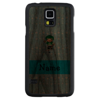 Personalized name hockey player blue bubbles carved® walnut galaxy s5 case