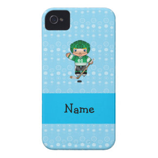 Personalized name hockey player blue bubbles Case-Mate iPhone 4 case