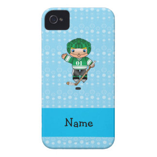 Personalized name hockey player blue bubbles iPhone 4 Case-Mate cases