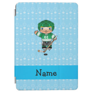 Personalized name hockey player blue bubbles iPad air cover