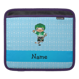 Personalized name hockey player blue bubbles sleeves for iPads