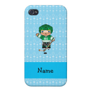 Personalized name hockey player blue bubbles cases for iPhone 4