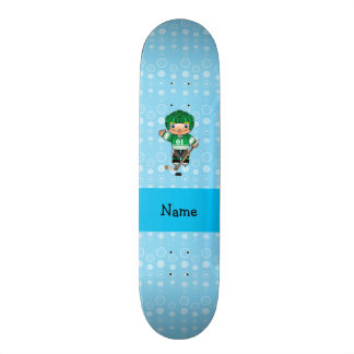 Personalized name hockey player blue bubbles skate board