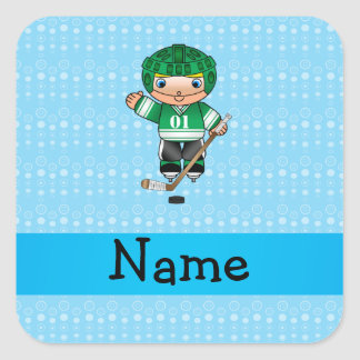 Personalized name hockey player blue bubbles square sticker