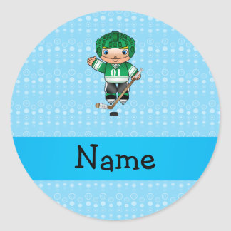 Personalized name hockey player blue bubbles stickers