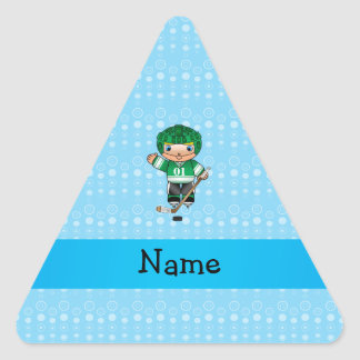 Personalized name hockey player blue bubbles triangle stickers