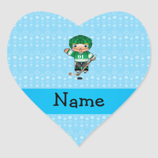 Personalized name hockey player blue bubbles heart stickers