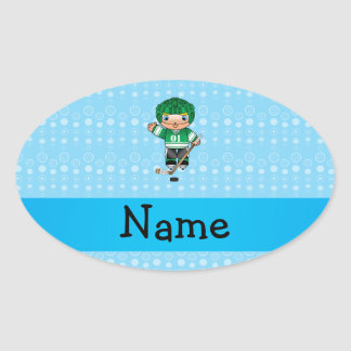 Personalized name hockey player blue bubbles oval stickers