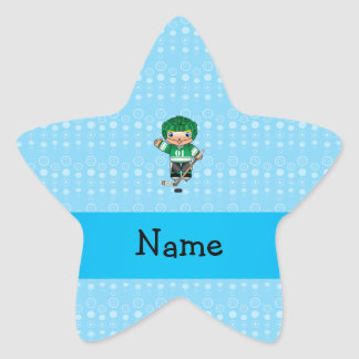 Personalized name hockey player blue bubbles sticker
