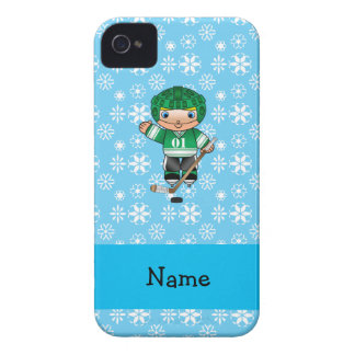 Personalized name hockey player blue snowflakes Case-Mate iPhone 4 cases