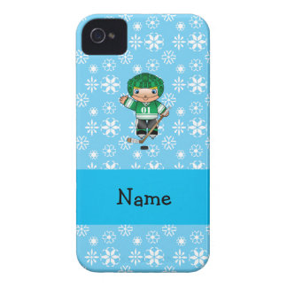 Personalized name hockey player blue snowflakes iPhone 4 cases