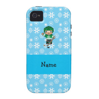 Personalized name hockey player blue snowflakes iPhone 4 case