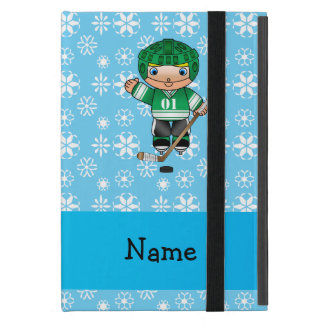 Personalized name hockey player blue snowflakes cases for iPad mini