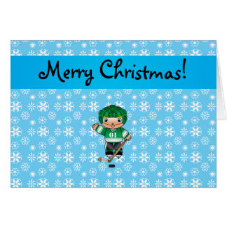 Personalized name hockey player blue snowflakes greeting card