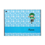 Personalized name hockey player blue snowflakes iPad mini cover