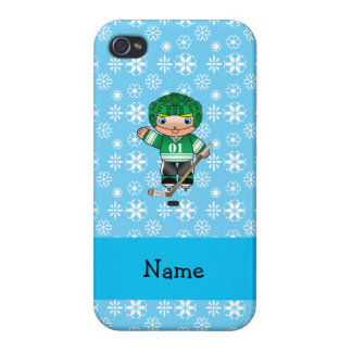 Personalized name hockey player blue snowflakes covers for iPhone 4