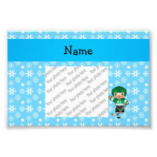 Personalized name hockey player blue snowflakes photo