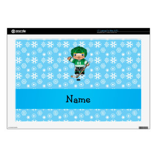 "Personalized name hockey player blue snowflakes decals for 17"" laptops"