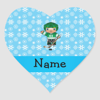 Personalized name hockey player blue snowflakes sticker