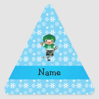 Personalized name hockey player blue snowflakes stickers