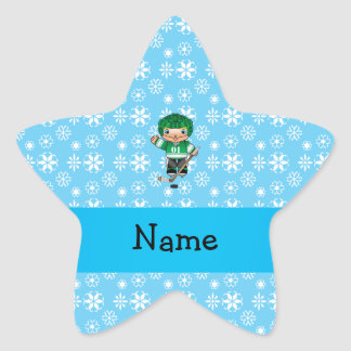 Personalized name hockey player blue snowflakes star sticker