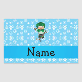 Personalized name hockey player blue snowflakes rectangle stickers